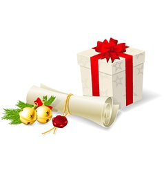 Christmas card with paper scroll wishlist and gift vector image