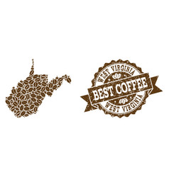 Collage map of west virginia state with coffee vector