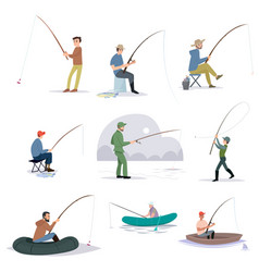 Collection of fishermen catching fish with fishing vector