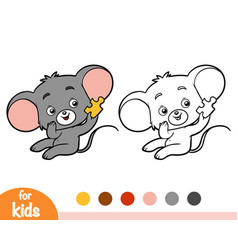 Coloring book mouse vector