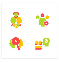 Conflict management flat icons set vector