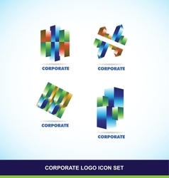 Corporate 3d logo set vector image