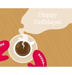 Cozy red gloves hold a mug of hot cocoa vector