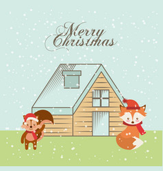 cute animal christmas celebration card vector image