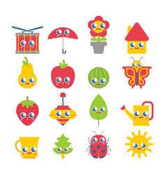 Cute cartoon set kawaii collection children vector