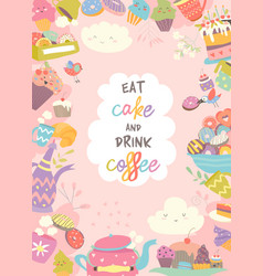 Cute frame composed cup cake and coffee vector