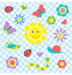 Cute insects and flowers vector image