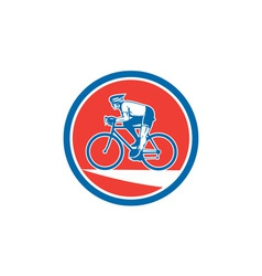 Cyclist Riding Mountain Bike Circle Retro vector image