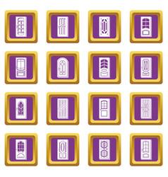 door icons set purple square vector image