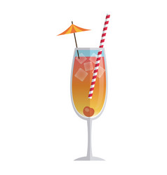 drink cocktail cherry ice umbrella straw vector image