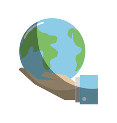 Earth planet in the hand icon vector