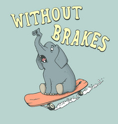 elephant skateboarder rides on skateboard vector image