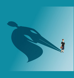 Executive woman with superhero shadow strong vector