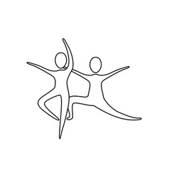 Figure people practicing dancing icon vector