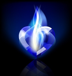 flaming blue heart crystal vector image