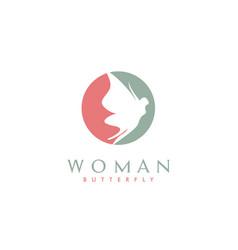 flying butterfly beauty woman body wings logo vector image