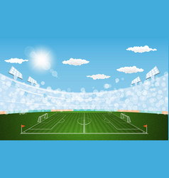 football arena field with lights sun daytime vector image