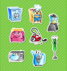 funny household appliances cartoon characters set vector image