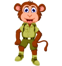 funny monkey cartoon with safari uniform vector image