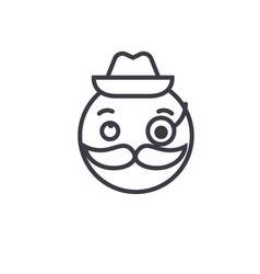 gentlemen emoji concept line editable vector image