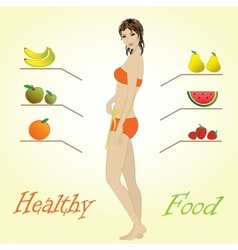 Girl and fruits infographics vector image