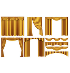 Golden luxury curtains and draperies interior vector