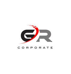 gr modern letter logo design with swoosh vector image