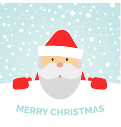 greeting card with santa claus and falling snow vector image