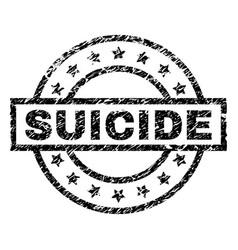Grunge textured suicide stamp seal vector