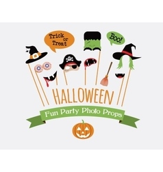 Halloween party invitation with photo booth props vector image