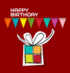 happy birthday card paper gift box and colorful vector image
