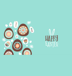 happy easter card chocolate egg and flowers vector image