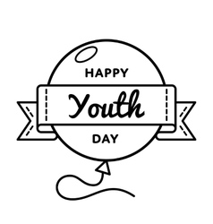 Happy Youth day greeting emblem vector