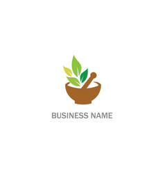 Herbal mortar organic leaf logo vector