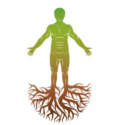 Human individuality created with tree roots vector