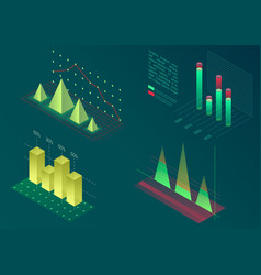 infographic isometric graph elements data vector image