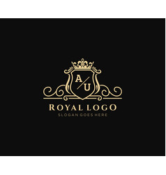Initial au letter luxurious brand logo template vector