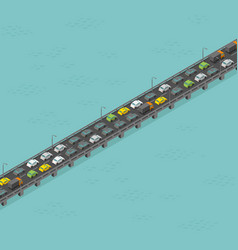 isometric bridge road high traffic long elevated vector image