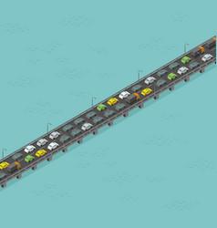 Isometric bridge road high traffic long elevated vector
