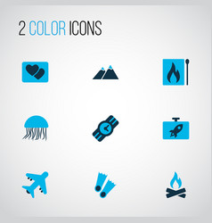 Journey icons colored set with jellyfish the vector