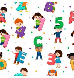 kids alphabet children font and boy or girl vector image