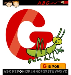 Letter g with grasshopper cartoon vector