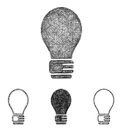 Lightbulb icon set - sketch line art vector