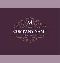 luxury logo monogram in vintage linear style vector image
