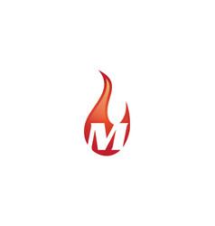 m letter flame logo vector image
