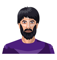 man with a beard and long black hair on white vector image