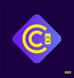 Modern professional logo monograma c in purple vector