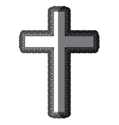monochrome shading silhouette wooden cross with vector image