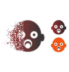 Moving pixel halftone baby head icon vector