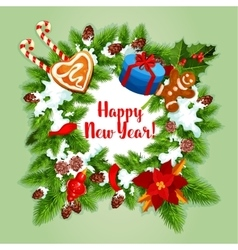New Year holiday wreath design vector